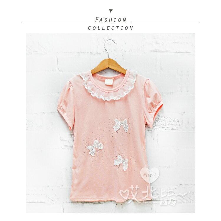 純棉 中大童 公主蝴蝶結水鑽短袖上衣 氣質 甜美 棉質 短袖 貼鑽 舒適 T恤 蝴蝶結 網