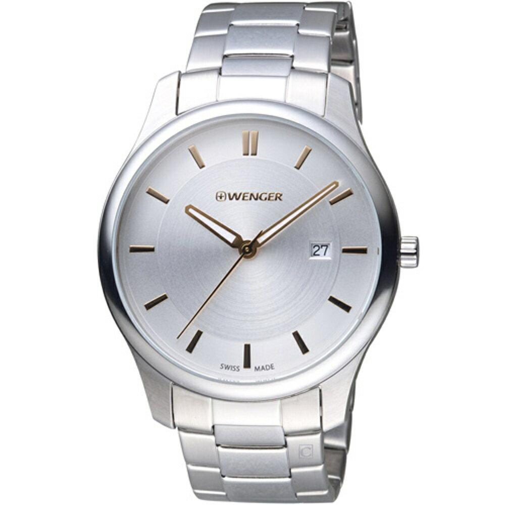 寶時鐘錶 瑞士WENGER  City 城市系列 經典簡約紳士腕錶 01.1441.105