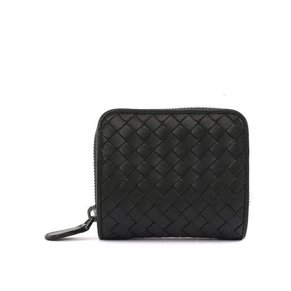【BOTTEGA VENETA】小羊皮二折零錢包短夾(黑色) 324980 V001N 1000