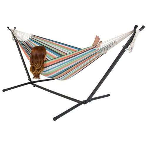 New Double Hammock With Space Saving Steel Stand Includes Carrying Case 450Lbs