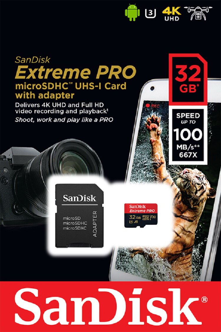 SanDisk Extreme Pro 32GB microSDHC 100MB/s A1 Class10 C10 U3 UHS-I 4K V30 667X 32G microSD micro SD SDHC Flash Memory Card SDSQXCG-032G + Multifunctional Protective Memory Case 1