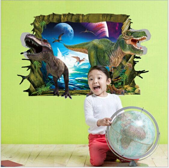 WallFree 窩自在★DIY無痕創意牆貼/壁貼-3D恐龍來了 AY9265