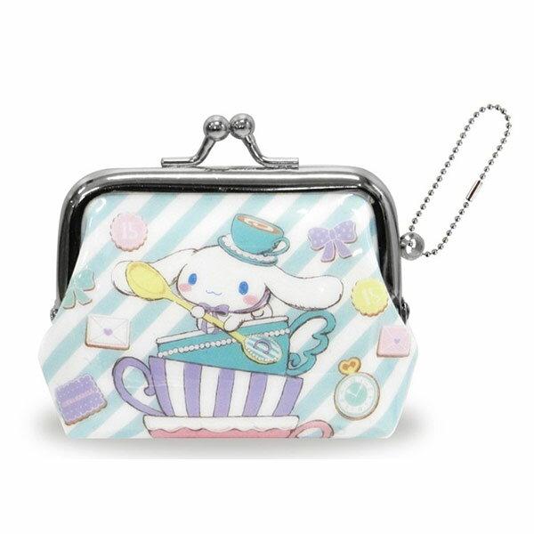 斜紋款【日本進口正版】大耳狗 Cinnamoroll 珠扣包 零錢包 三麗鷗 Sanrio - 052014