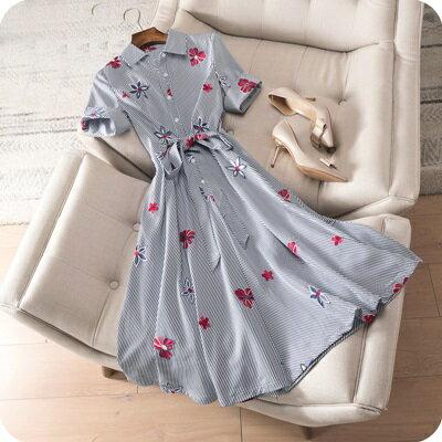 連身裙條紋連衣裙-花朵刺繡優雅幹練時尚女上衣73sz45【獨家進口】【米蘭精品】