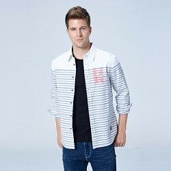 Lee條紋休閒長袖襯衫/UR-白色-男款
