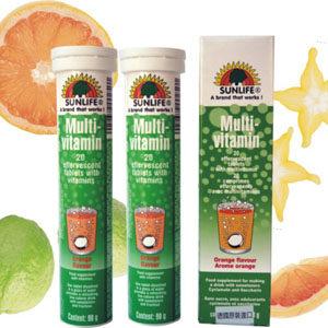 【德國SUNLIFE】綜合維他命發泡錠(橘子) 20顆  ◤單次購買3瓶隨貨附贈1瓶 ◢ 0
