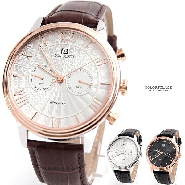 手錶 DON BOSCO兩眼皮革錶【NEK32】