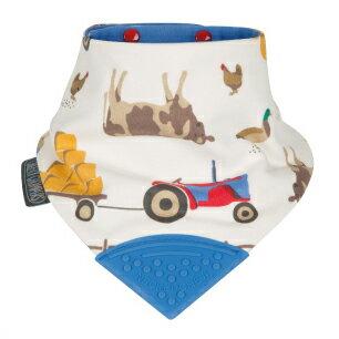 英國Cheeky Chompers咬咬兜 圍兜 口水巾 三角領巾 固齒器-【英國設計師Joules聯名款 Farmers 開心農場】