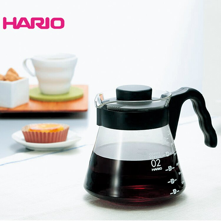 【沐湛咖啡】日本製HARIO V-60 (VCS-01B/VCS-02B)微波耐熱玻璃壺 700cc 咖啡壺 花茶壺 黑
