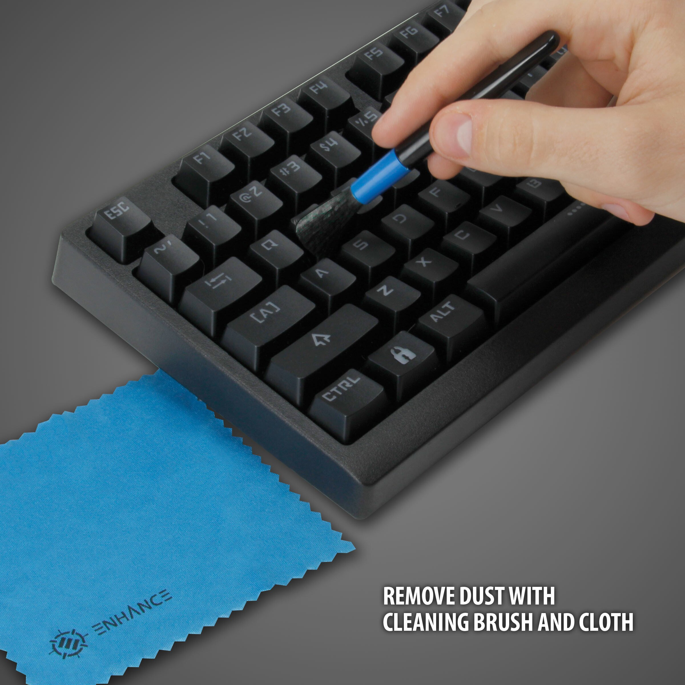 ENHANCE Mechanical Keyboard & Mod Kit ? With Keycap Puller , O-Ring Dampeners , Brush , Cloth & Bag 6