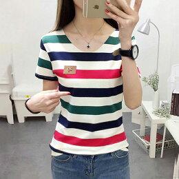 韓版V領條紋小皮標T恤 2色 (M~2XL)