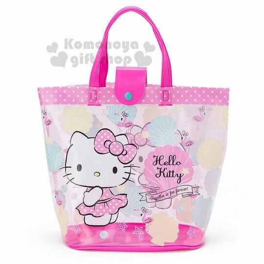 〔小禮堂〕Hello Kitty 防水手提水桶袋《透明.桃.紅鶴》2017清涼夏日系列