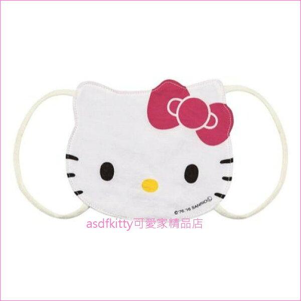 asdfkitty可愛家☆KITTY臉型兒童用棉質口罩-日本正版商品