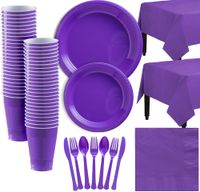 Purple Plastic Tableware Kit for 50 Guests, Party Supplies