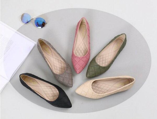 Pyf♥舒適休閒軟底磨砂尖頭編織平底鞋通勤鞋上班鞋43大尺碼女鞋