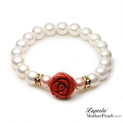 大東山珠寶 戀愛絮語 南洋貝寶珠玫瑰珊瑚金燦手鍊