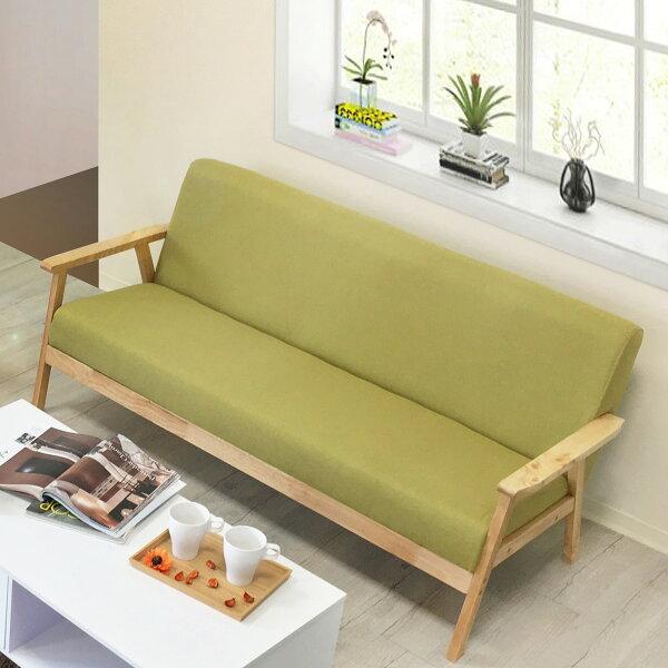 !新生活家具!《彗星》三人位沙發三人沙發布沙發亞麻布松木扶手休閒椅綠色灰色清新北歐