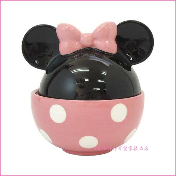 asdfkitty可愛家☆迪士尼米妮有蓋陶瓷碗飯碗點心碗湯碗-可微波-日本正版商品