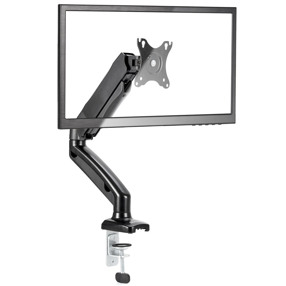 Ikross Single Arm Monitor Desk Mount With C Clamp Grommet Base Gas Spring