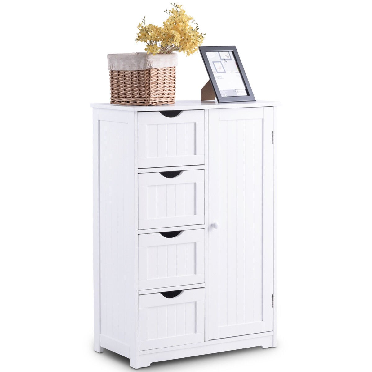 Costway Wooden 4 Drawer Bathroom Cabinet Storage Cupboard 2 Shelves Free  Standing White 1