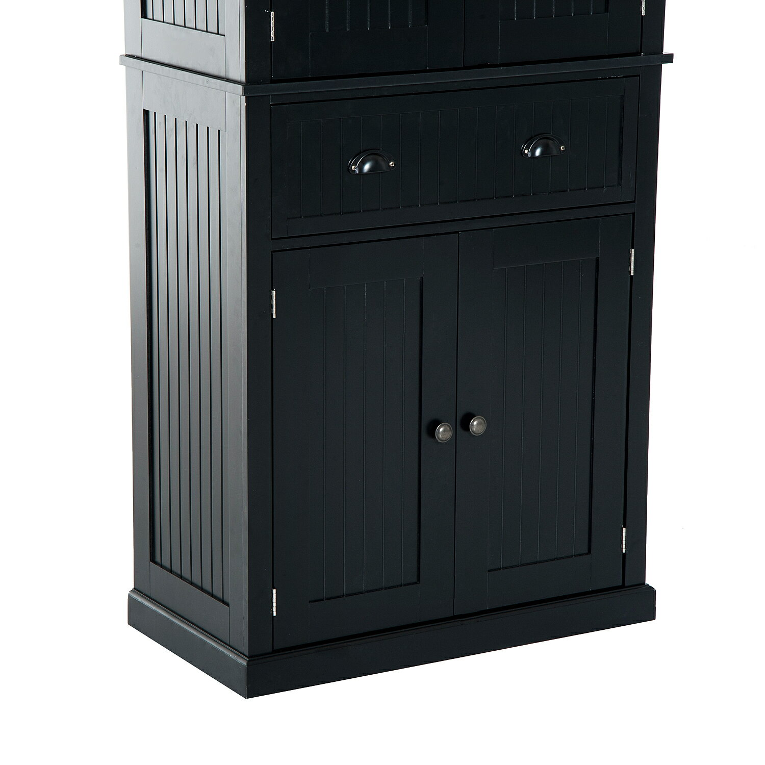 aosom homcom large free standing colonial wood storage cabinet kitchen pantry black. Black Bedroom Furniture Sets. Home Design Ideas