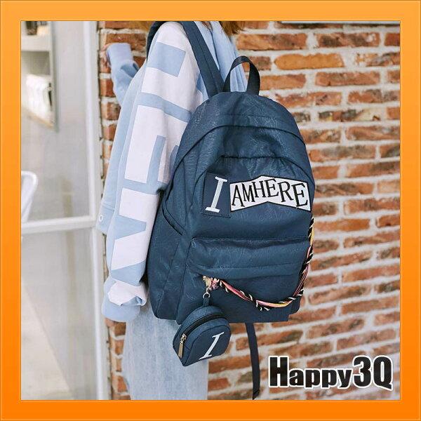 後背包雙肩包防水尼龍包英文字母印花大容量學生包休閒包-粉藍【AAA3899】