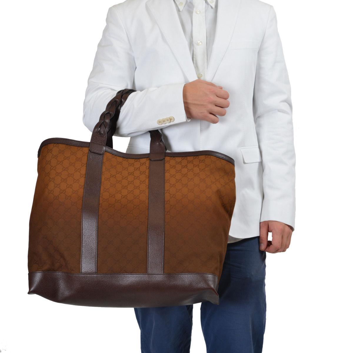 f413e945ed9 Gucci Men's Leather Trimmed GG Print Large Tote Shoulder Bag Handbag 1