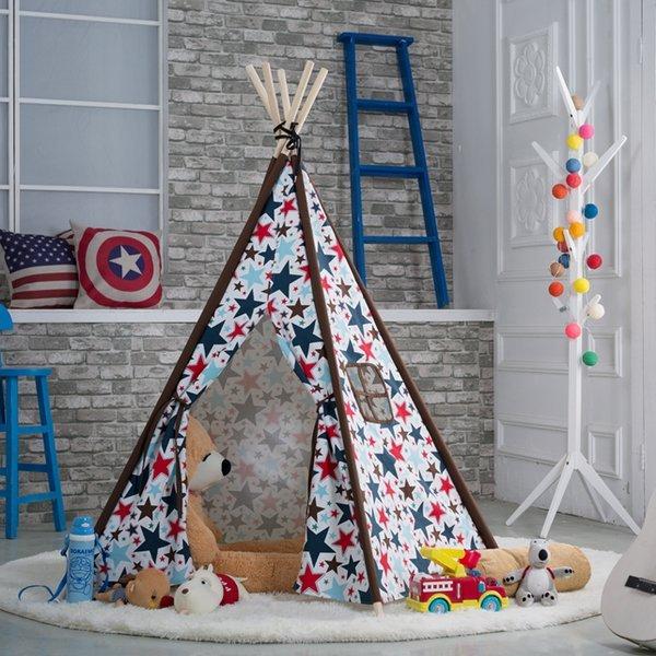 =優生活=『夏日野餐季免運優惠』韓國印第安星星純棉寶寶帳篷 寶寶嬰兒遊戲屋 野餐帳篷 野餐墊 兒童拍攝道具