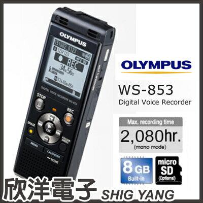 ※欣洋電子※日本OlympusWS-853數位錄音筆(8GB可擴充)黑色款德明公司貨保固18個月