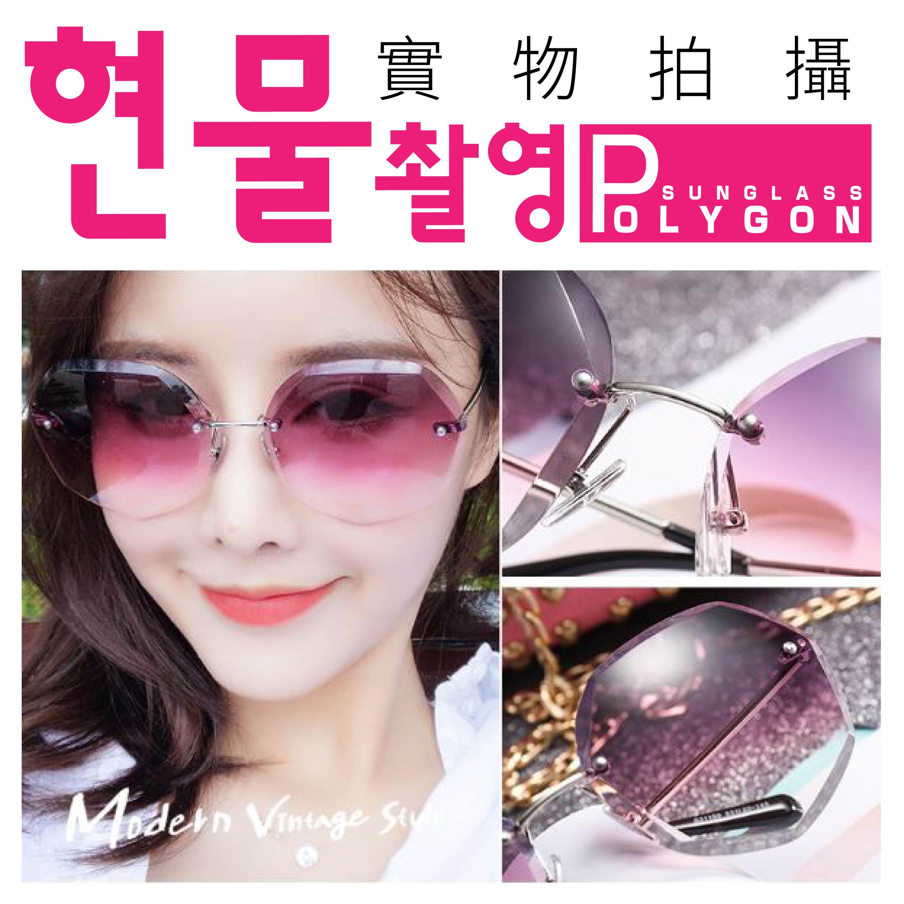『現貨』金屬幾何墨鏡 水晶切邊 百搭名媛 漸變色 太陽眼鏡 多邊形 小臉【BE476】 5