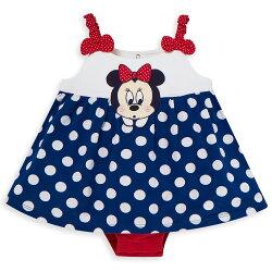 Disney baby米妮系列經典圓點細肩帶包屁衣-深藍