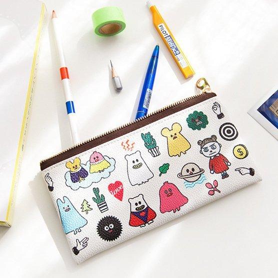 =優 =韓國文具可愛搞怪幽靈拉鏈PU筆袋 收納包 化妝工具整理袋 小不點