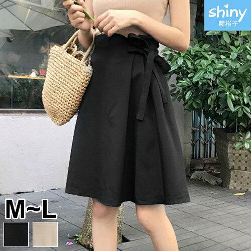 【V2318】shiny藍格子-修身美感.高腰側百褶綁帶蝴蝶結中長裙