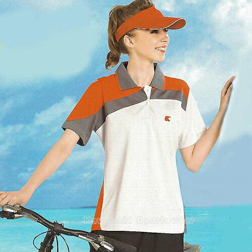 avalok 運動休閒服飾:【日本Kawasaki】女版運動休閒吸濕排汗短POLO衫(淺灰橘)#KW2229A