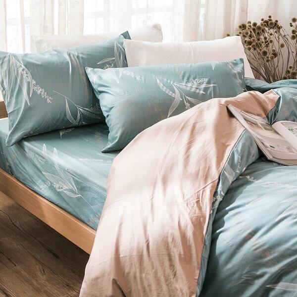 戀家小舖:床包單人-100%精梳棉【柳葉輕淺】含一件枕套,戀家小舖,台灣製