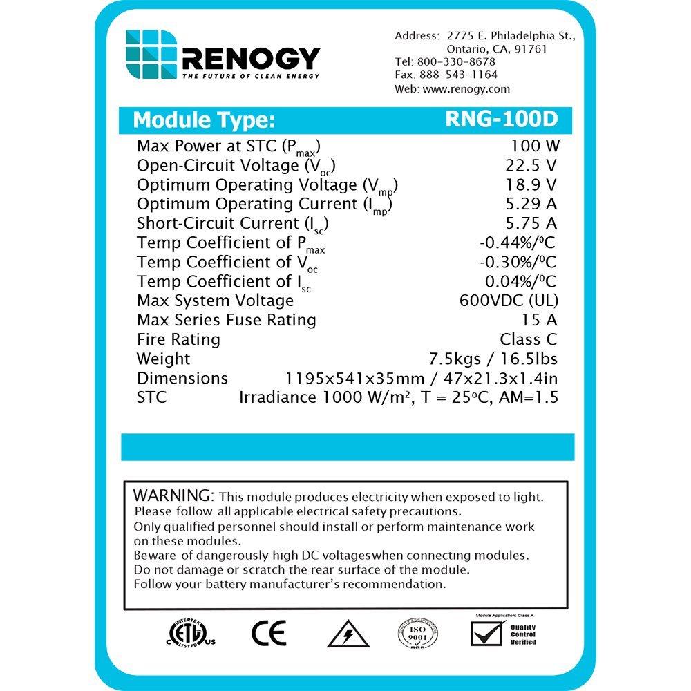 Renogy 400 Watt 12 Volt Monocrystalline Solar Panel kit 6