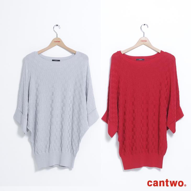 cantwo方格蝙蝠袖針織上衣(共三色) 5