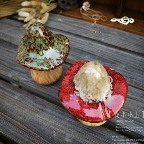 【多彩雙色-陶瓷蘑菇】創意工藝品擺件2個組
