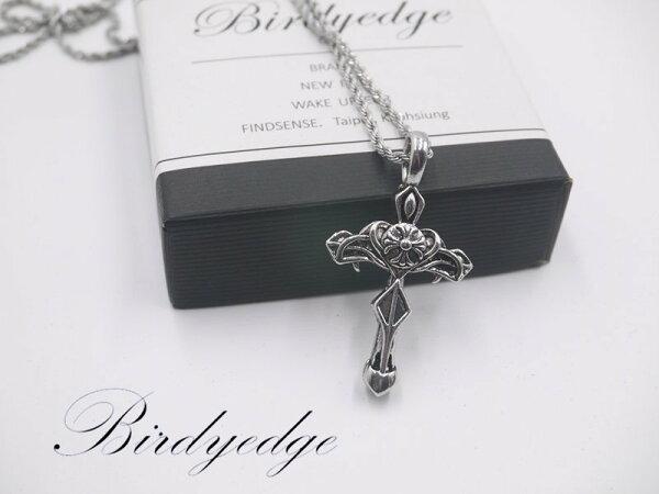 BIRDYEDGE品牌設計耶穌聖母十字玫瑰鋼鍊項鍊免運費聖母十字劍勝花2
