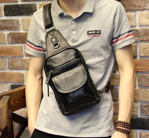 FINDSENSEZ1韓國時尚潮男豎款黑色單肩包手機包斜挎包斜背包休閒運動騎行包
