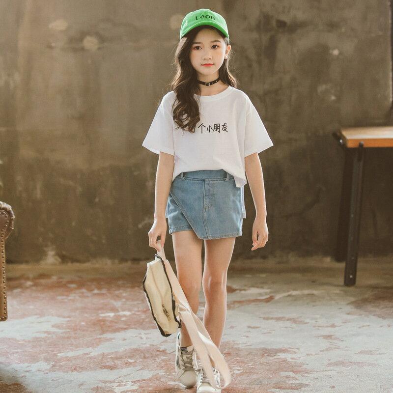 2019夏季新款女童短款前短後長不規則T恤寶寶棉質印字小朋友短袖