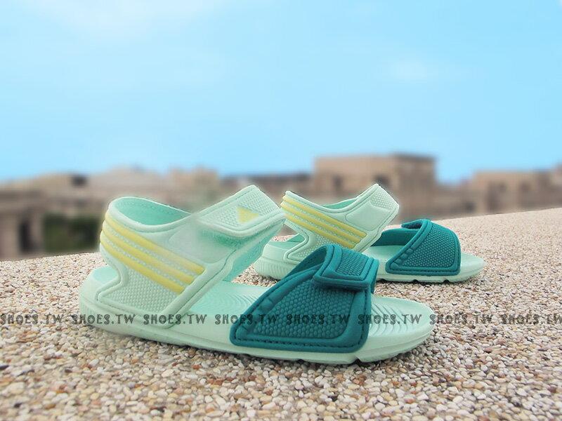 《下殺6折》Shoestw【AQ4590】ADIDAS 童鞋 涼鞋 中童 AKWAH 9 K 蒂芬妮綠 鵝黃