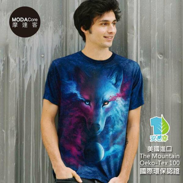 【摩達客】(預購)美國TheMountain都會系列光影陰陽狼中性修身短袖T恤