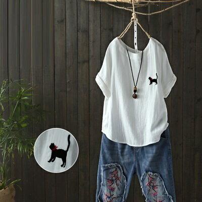 短袖T恤打底衫-簡約小貓刺繡休閒女上衣73sj69【獨家進口】【米蘭精品】