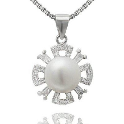 925純銀項鍊 珍珠吊墜~高貴 精美鑲鑽七夕情人節 女飾品73dh31~ ~~米蘭 ~