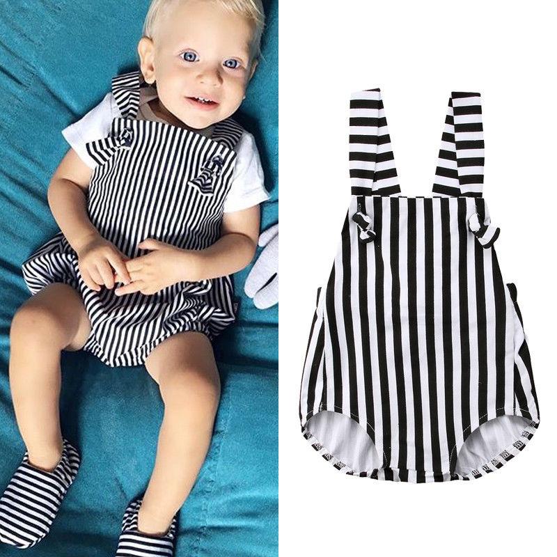 ddffb487b765 Casual Newborn Baby Boy Girl Striped Romper Jumpsuit Bodysuit Cotton Clothes  Set 0