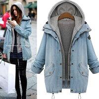 風衣外套推薦到寬鬆顯瘦牛仔風衣外套風衣 (兩件組) (淺藍色,M~4XL)【OREAD】就在OREAD-自由風格推薦風衣外套