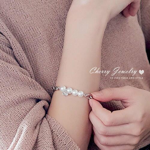 秀氣閃鑽珍珠造型手鍊【櫻桃飾品】【10493】