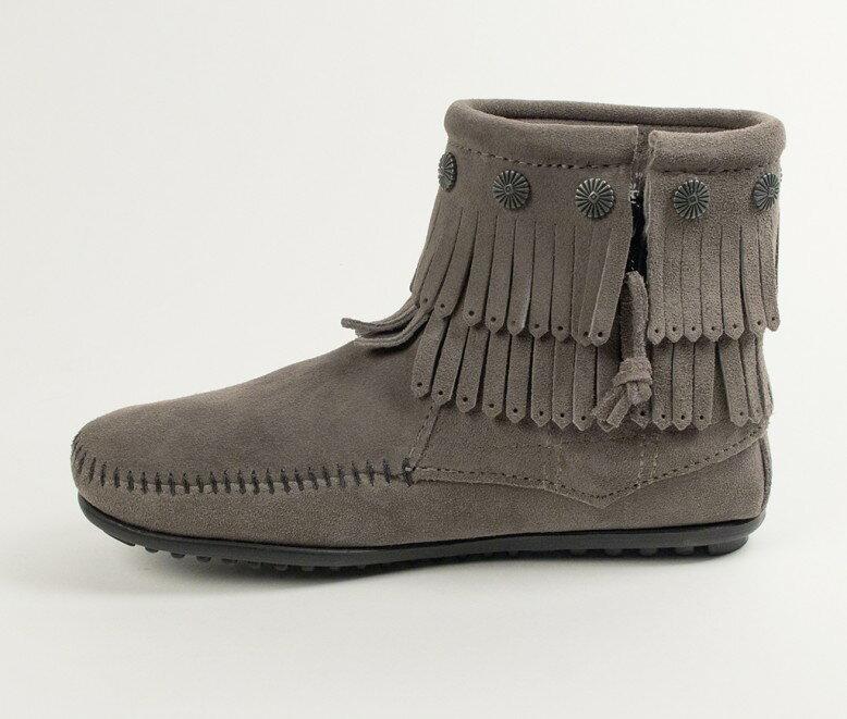 【Minnetonka 莫卡辛】灰色 - 雙層麂皮流蘇踝靴 3