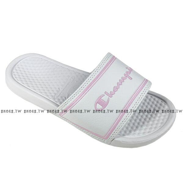 Shoestw【923250206】CHAMPION 拖鞋 運動拖鞋 白粉方框 女生尺寸 0
